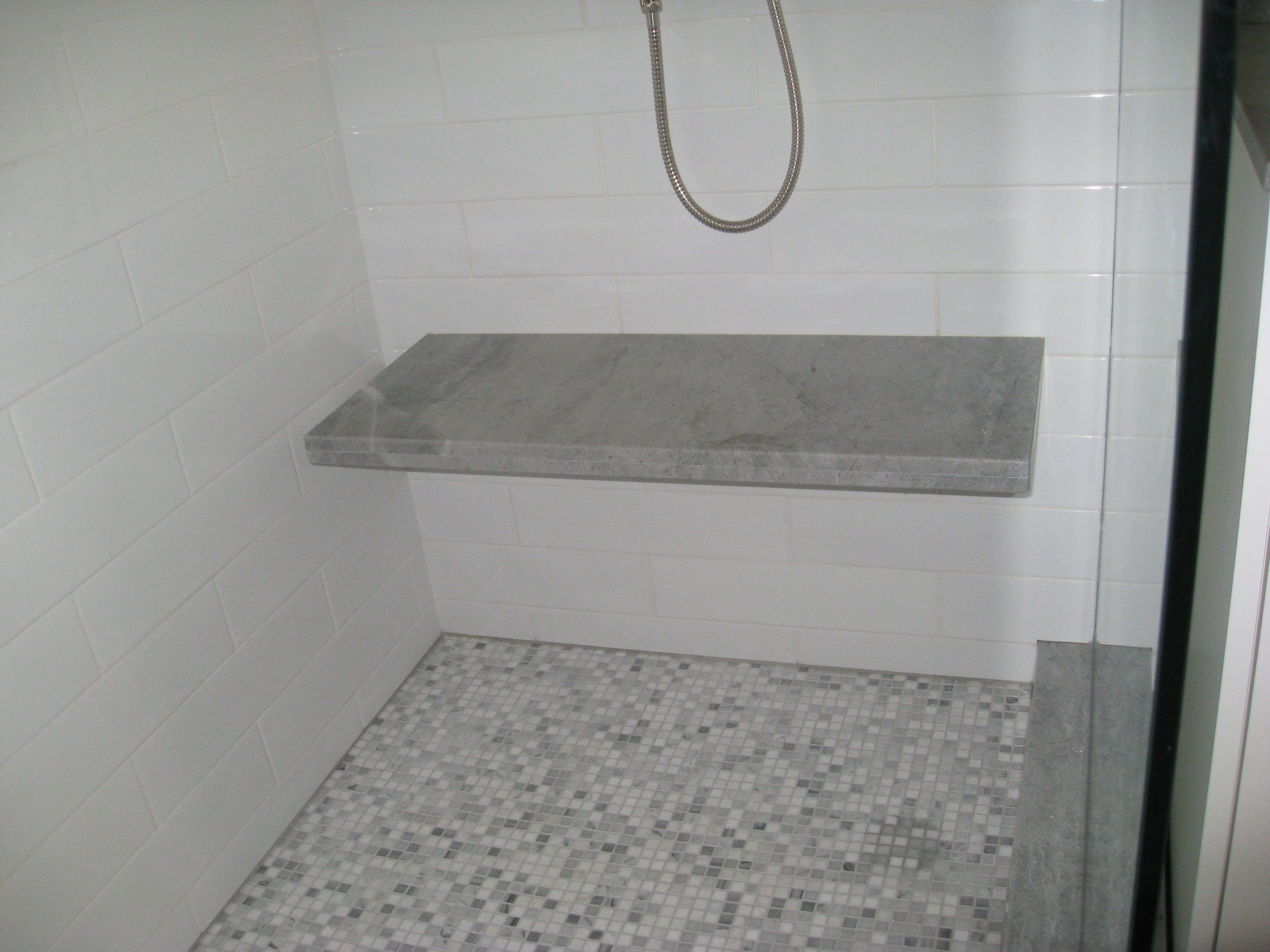 Pretty Marble Floating Bench In Shower Granite Shower Shower Bench Shower Seat