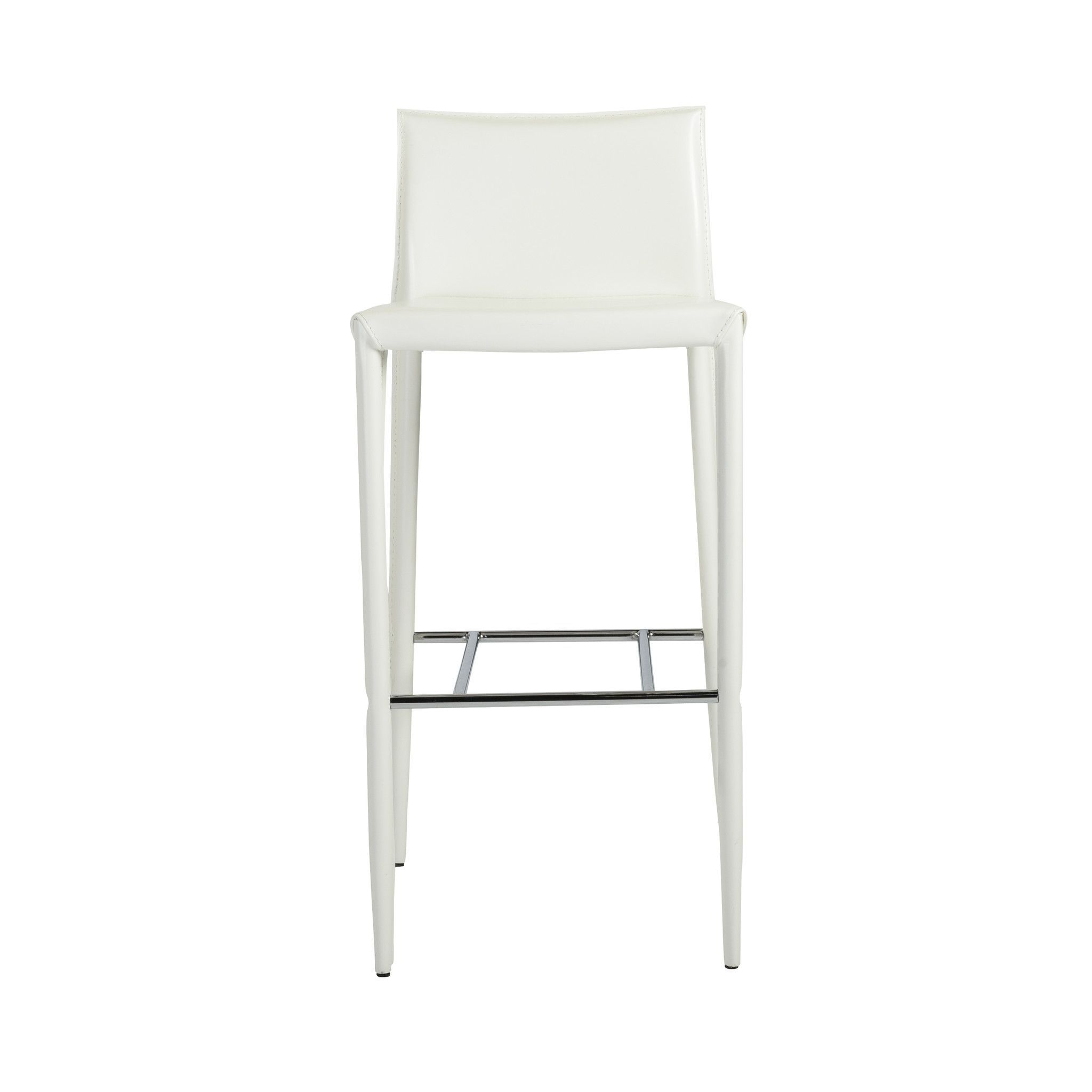 Shen Bar Stool in White with Chrome Footrest (Set of 2)