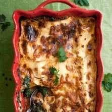 vegetarisk lasagne med keso och broccoli