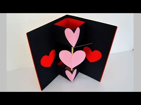 How To Make 3d Heart Valentine Day Pop Up Card Aoc Craft Pop Up Valentine Cards Pop Up Card Templates Heart Pop Up Card