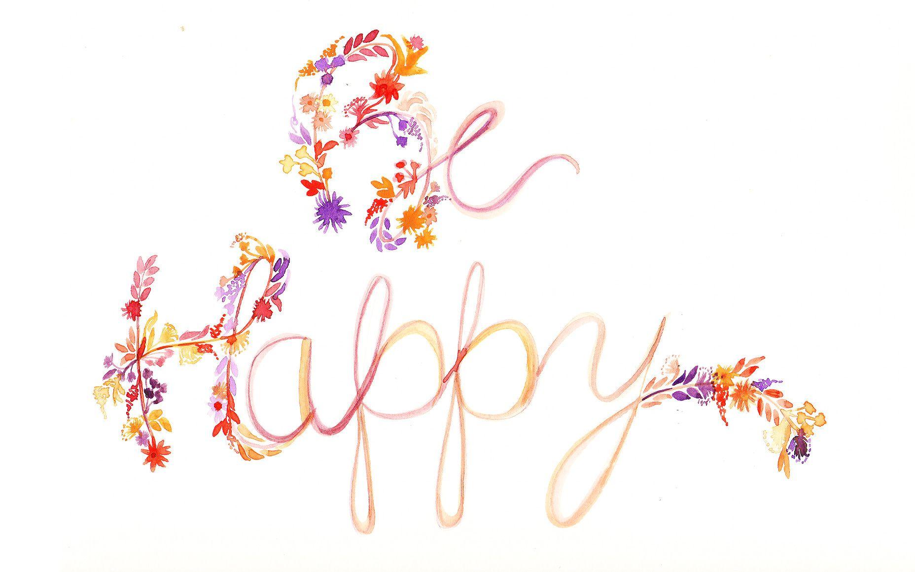 Lilac Lavender Floral Be Happy Desktop Wallpaper Background