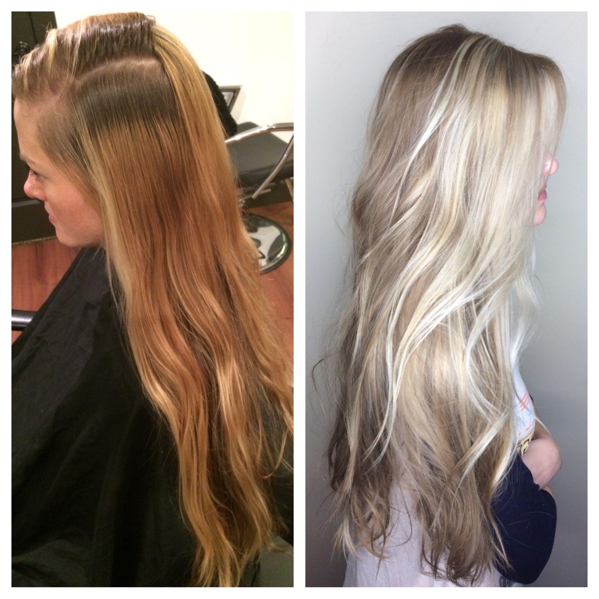 Before After Blonde Rapunzel Hair Long Hair Platinum
