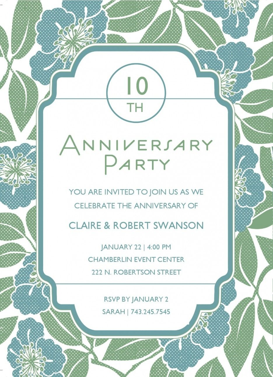 5th Anniversary Party Invitation With Floral Template  5th