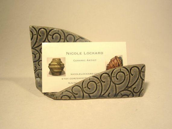 Blue Lace Business Card Holder Handmade Ceramic Business
