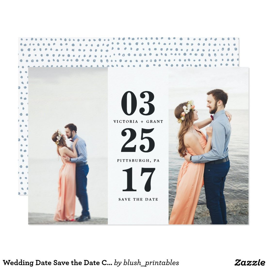 Wedding Date Save the Date Card Gorgeous, on-trend save the date announcements featuring your favorite engagement photos. Lovely typography and all white text makes this design truly stand out. Inspired by the sea, these save the date cards are classic and classy with a chic yet traditional touch.
