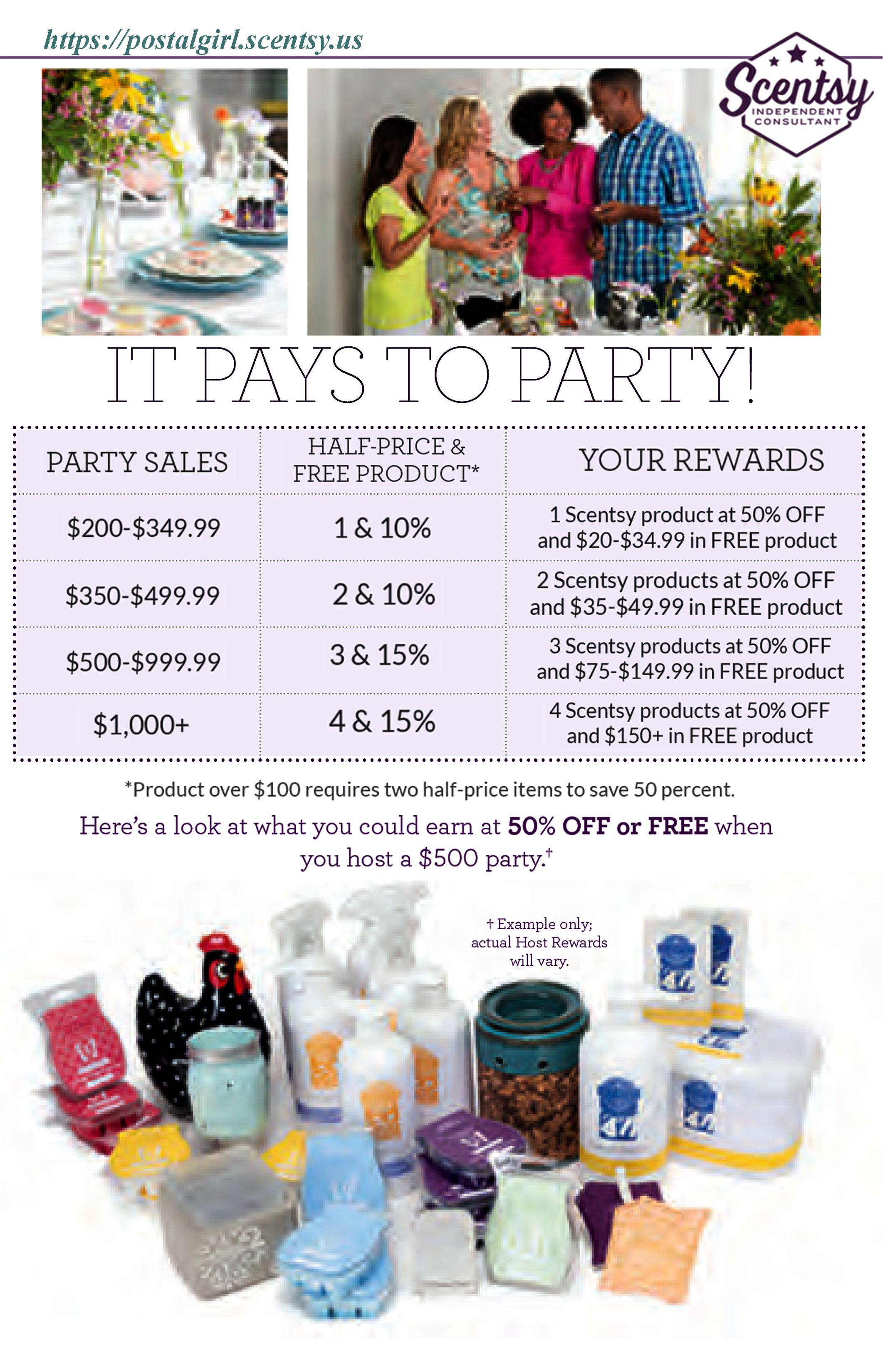 Scentsy Party Host Rewards And Party Sales Chart For Spring Summer 2016 Scentsy Half Price And Host Rewards Scentsy Hostess Rewards Scentsy Scentsy Hostess