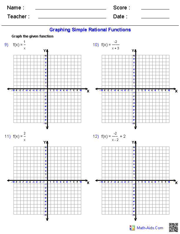 Graphing Simple Rational Functions Worksheets Education Pinterest
