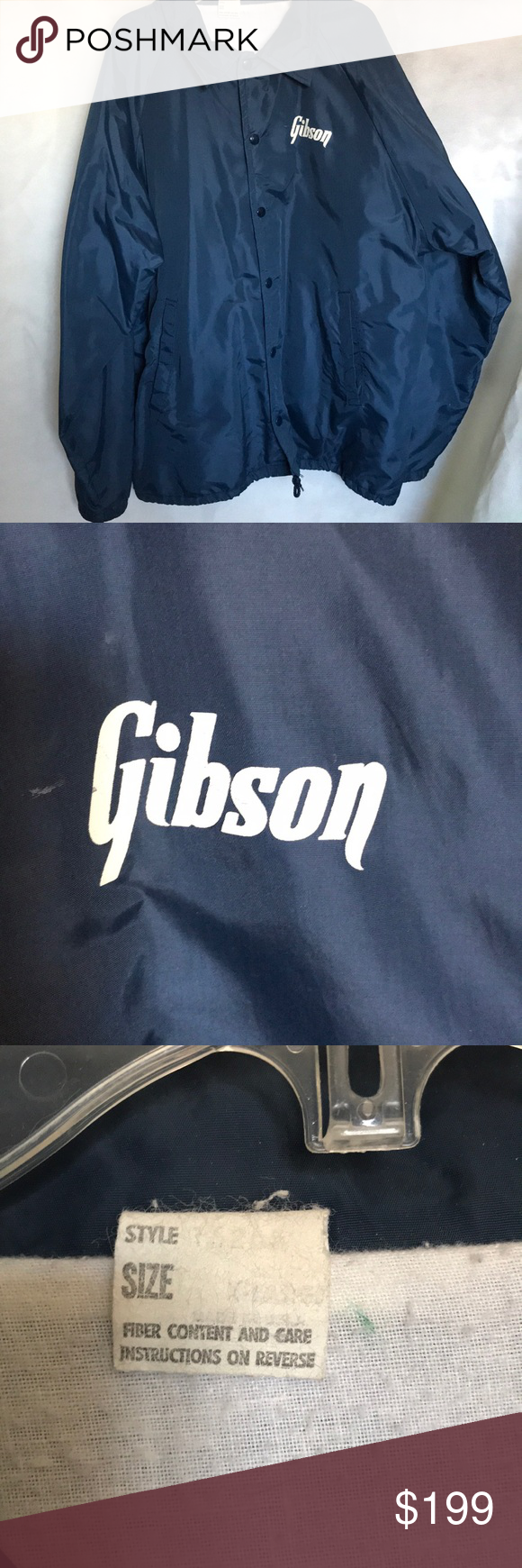 "Vintage Gibson Guitar Windbreaker Jacket XL Vintage Gibson Guitar Men's Blue windbreaker jacket. Size XL. No flaws to this jacket. Even still has regular tag and ties on the bottom around the waist. This jacket is amazing.   Measurements... Shoulder to shoulder: 20"" Sleeve: 25"" Chest: 26"" Waist: 26"" Total length: 30"" Gibson Jackets & Coats Windbreakers #gibsonguitars Vintage Gibson Guitar Windbreaker Jacket XL Vintage Gibson Guitar Men's Blue windbreaker jacket. Size XL. No flaws t #gibsonguitars"