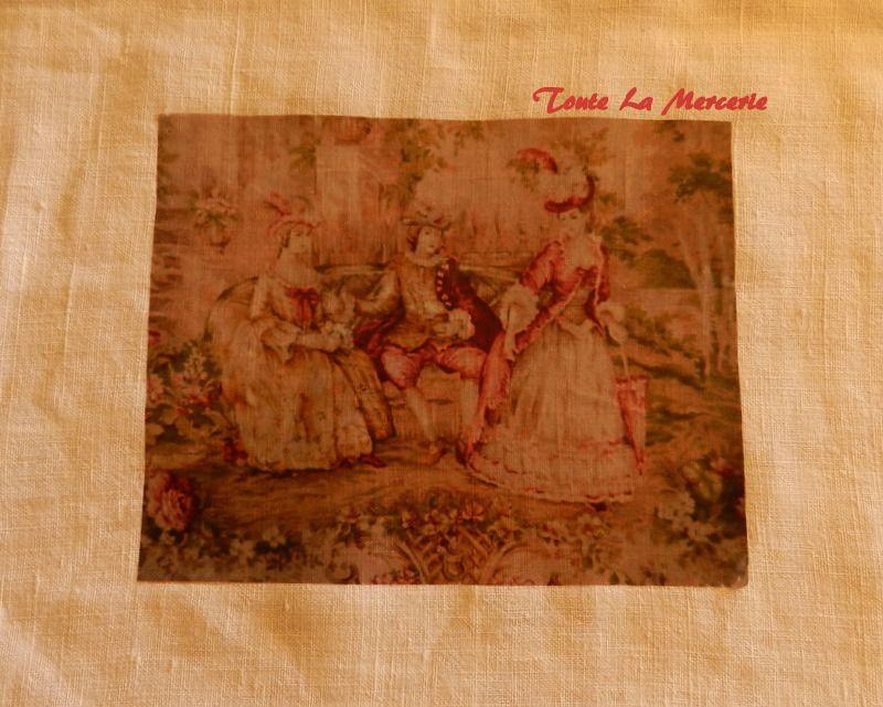 transfert image textile style toile de Jouy, dames élégantes : Autres Tissus par toute-la-mercerie