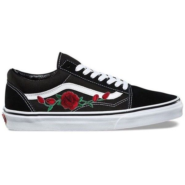 Rose Embroidered Vans ❤ liked on Polyvore featuring shoes