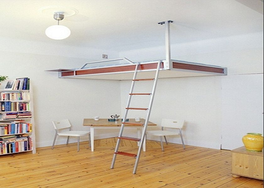 Bedroom Furnitures Simple Diy Loft Bed With Wall Mounted And