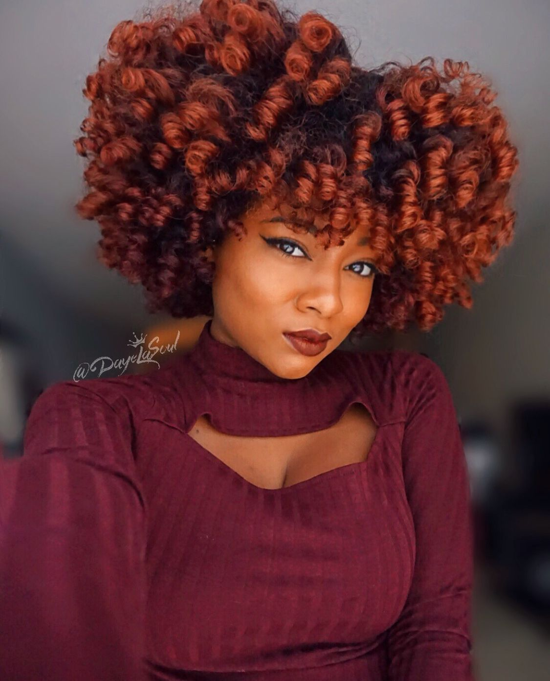 Unique Natural Curly Hair Color Orange Copper Red Burgundy Purple Ombre Bayalage Curly Hair Styles Naturally Natural Hair Styles Natural Hair Color