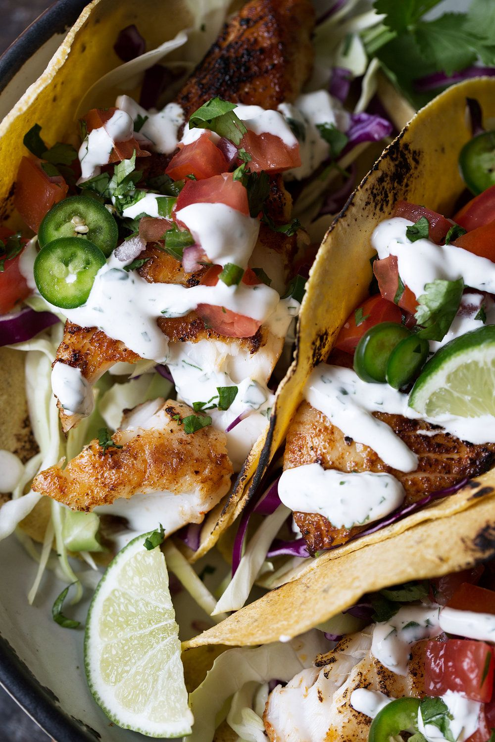 Fish Tacos With Cilantro Lime Sauce Grilled Fish Tacos Recipes Cilantro Lime Sauce