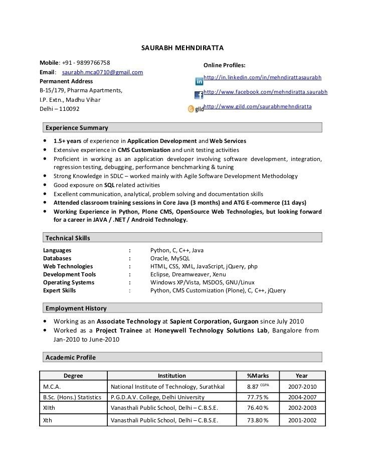 For 1 Year Experienced | Template and Resume format