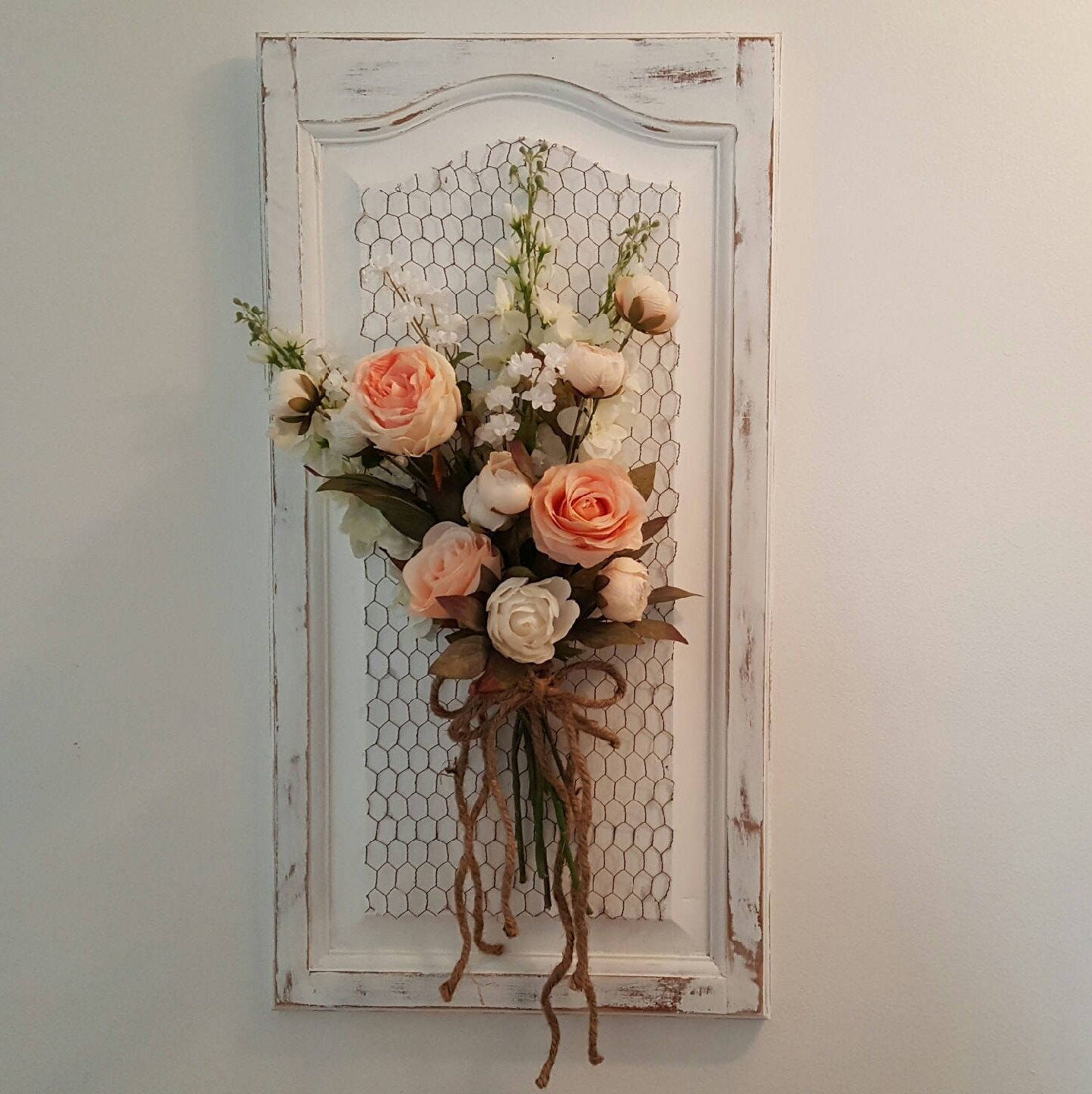 Blush Flower Arrangement Floral Wall Hanging Shabby Wall Decor