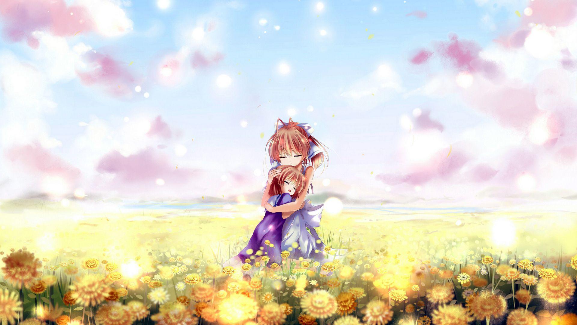 Anime Clannad Anime Females Sisters Field