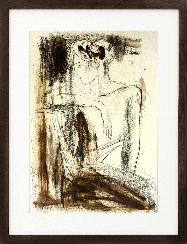 original charcoal sketch artistic drawing woman