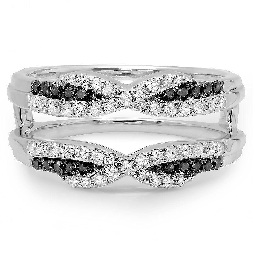 0.50 Carat ctw 14K White Gold Black and White Diamond