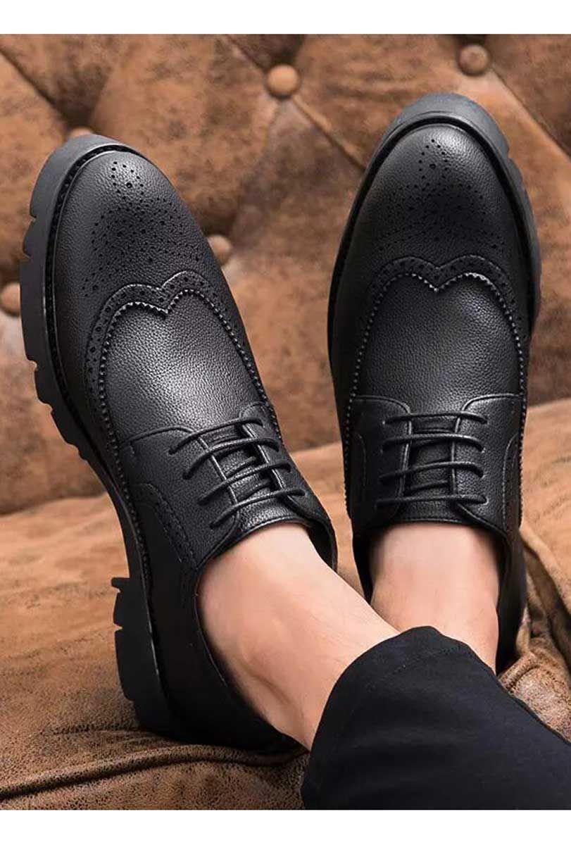 Black Retro Brogue Leather Derby Dress Shoe 1924 Dress Shoes Men Mens Black Dress Shoes Black Shoes Outfit [ 1200 x 811 Pixel ]