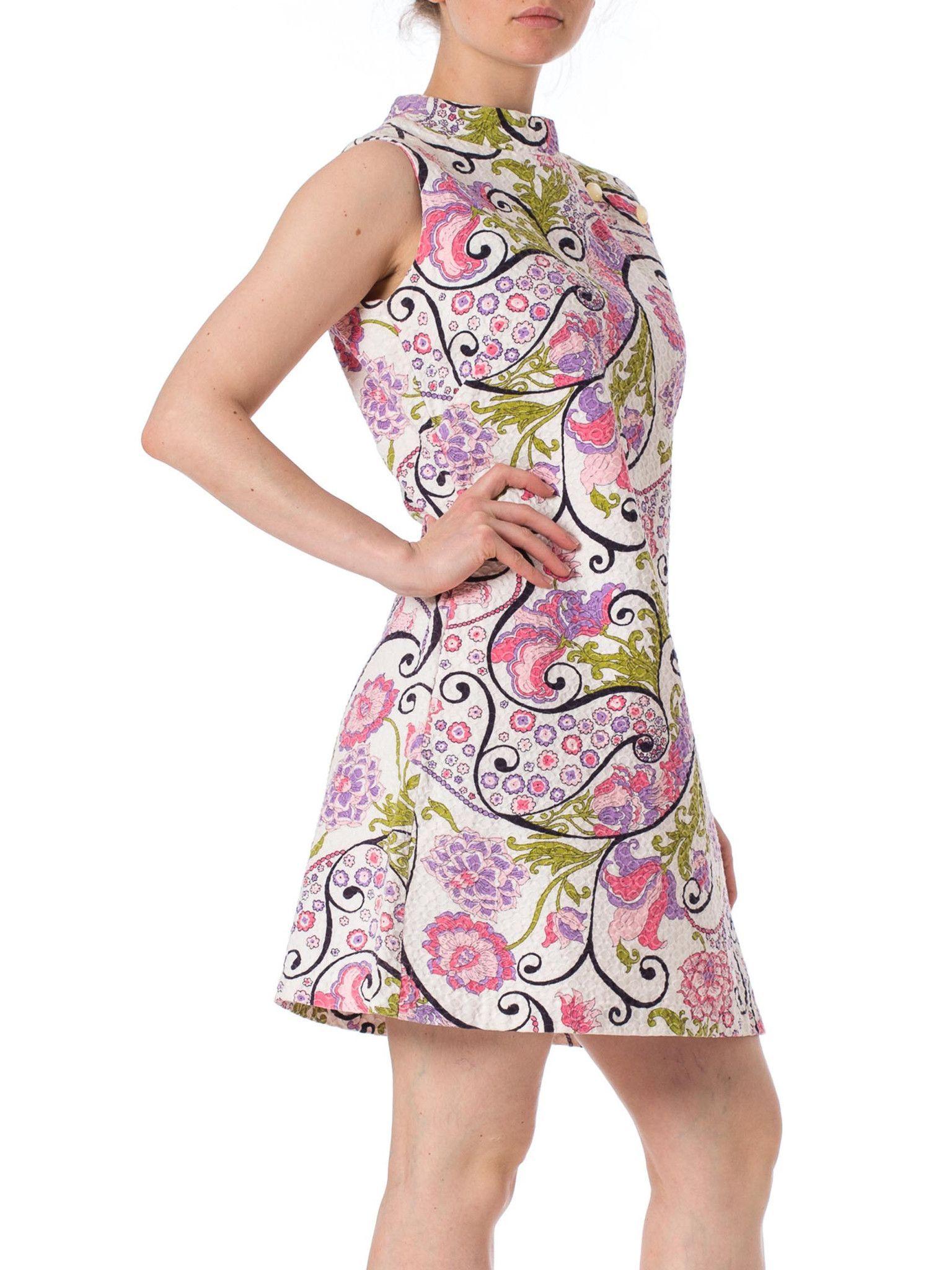 1960s MOD Floral Printed Cotton Sleeveless Dress