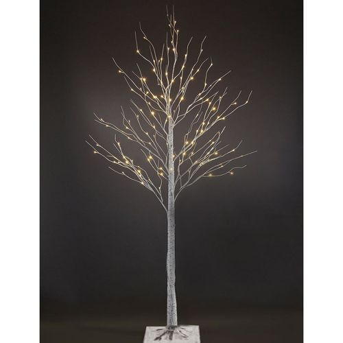 Silver 7 Foot Birch LED Christmas Tree With 96 Lights Artificial