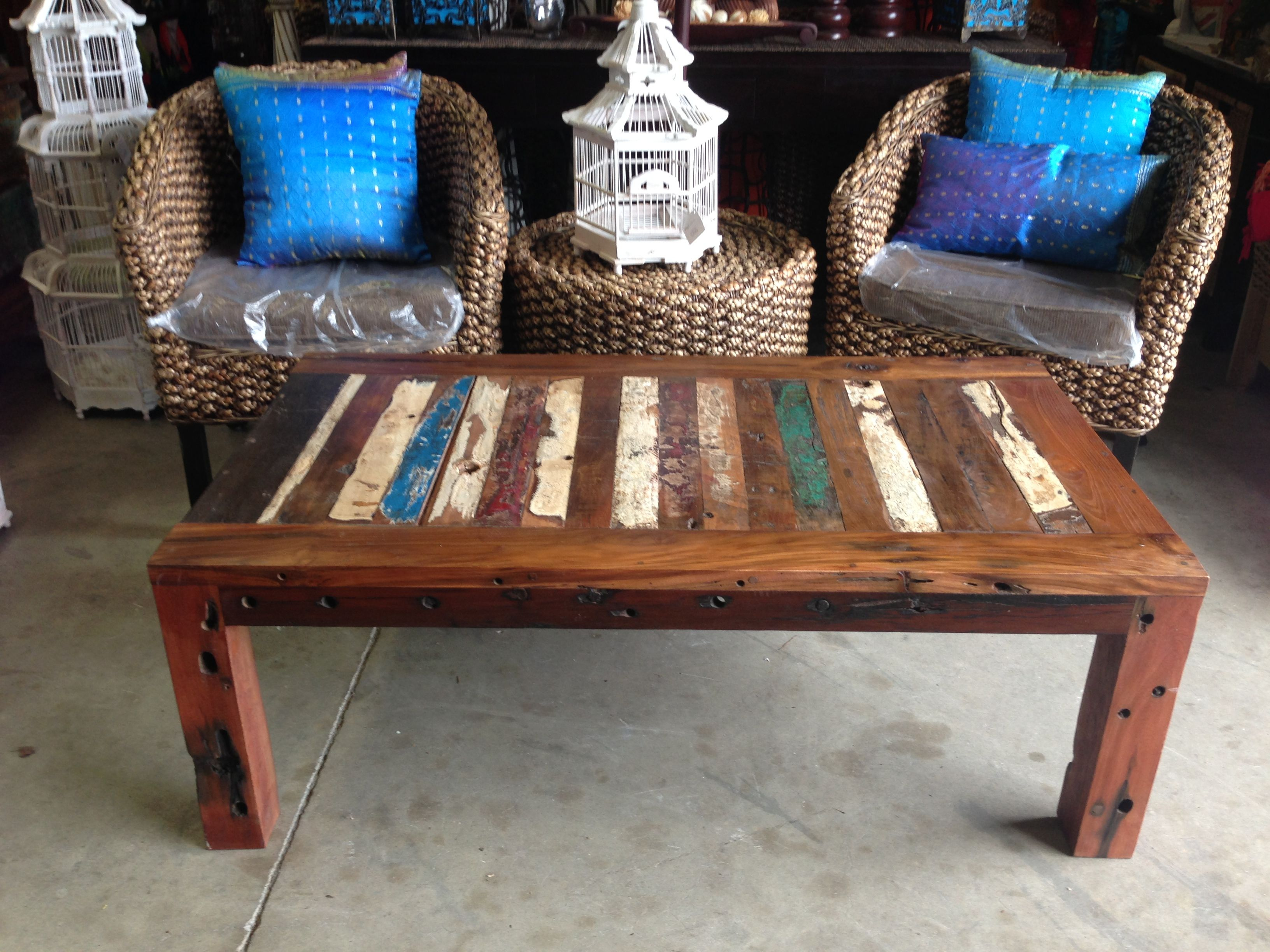 Balinese Recycled Boat Wood Coffee Table