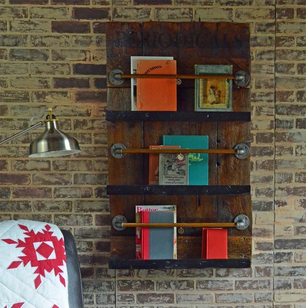 reclaimed barn door wall mount bookshelf and magazine rack on wall mount bookshelf id=61462