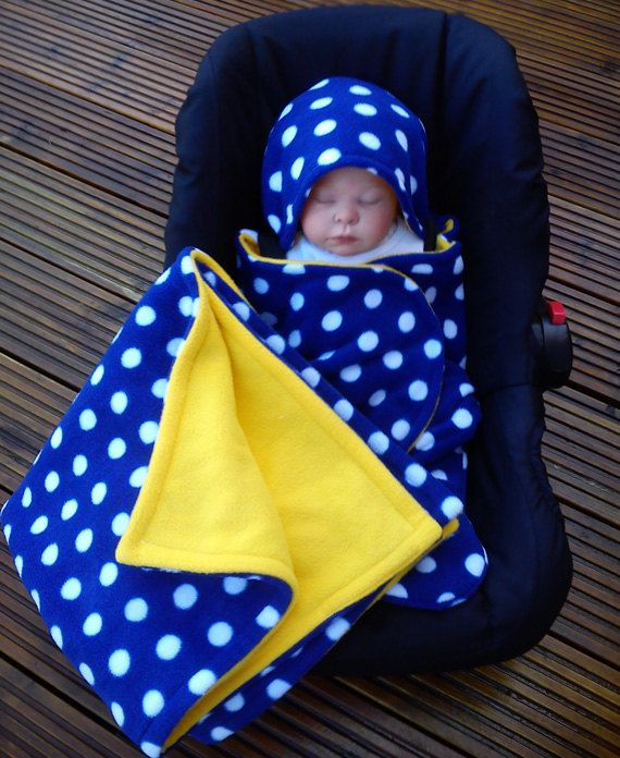 Car Seat Cosy Wrap Swaddle Blanket Baby Royal Blue By