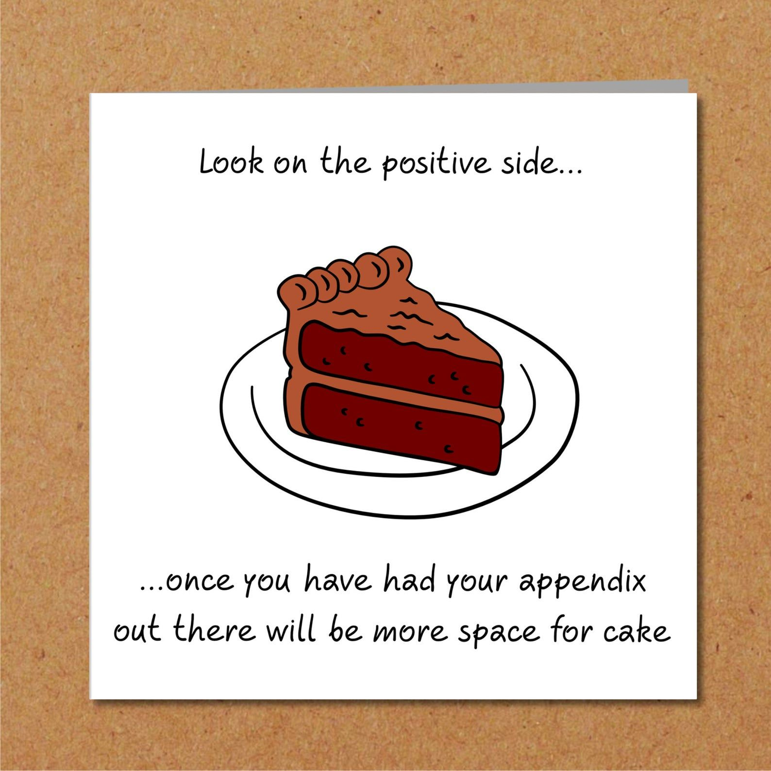 Funny appendix surgery card appendectomy get well soon
