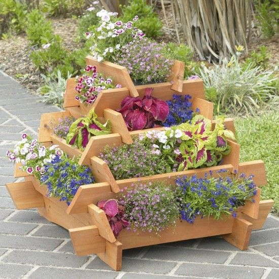 Wooden Square Stacked Planter Diy Wooden Planters Wooden Flowers Wooden Garden