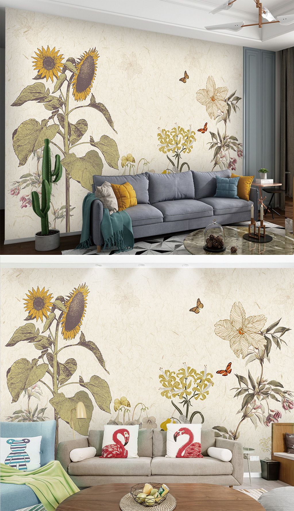 American Vintage Sunflower Living Room Murals Wallpaper Wallpapers Interiordesign Decoration Interior Interiordec Living Room Murals Wall Wallpaper Mural