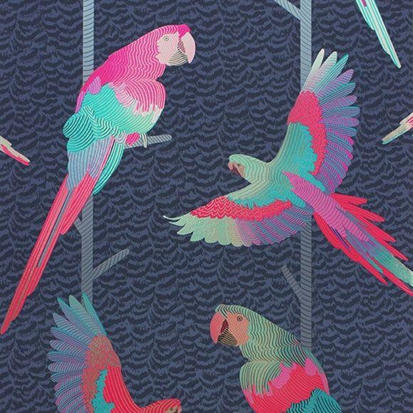 Papier Peint Arini Perroquets Brillants Sur Fond Foncé