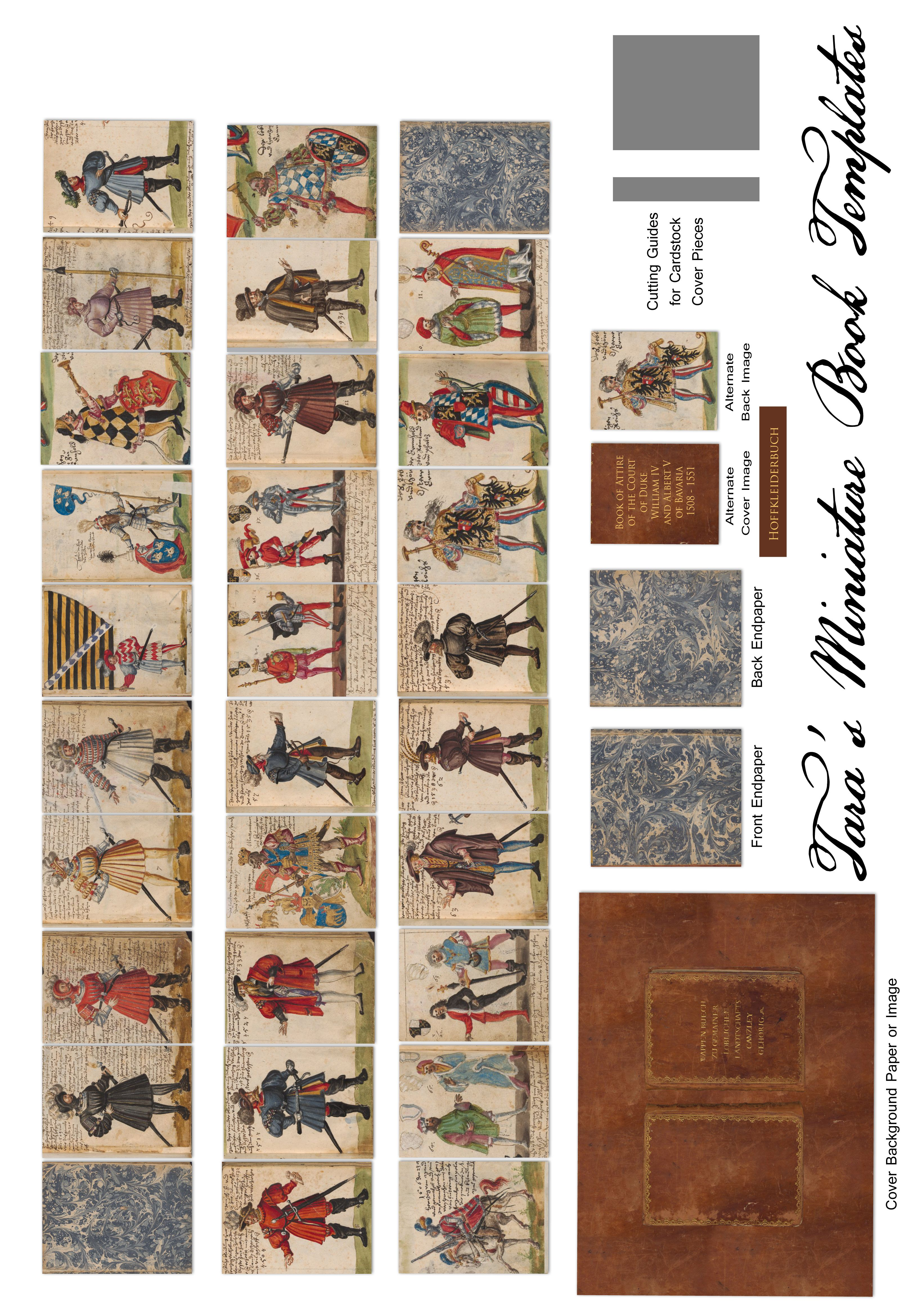 "Free Miniature Dollhouse 1.5"" Book of images from the 16th Century German Hofkleiderbuch (Book of Attire)"