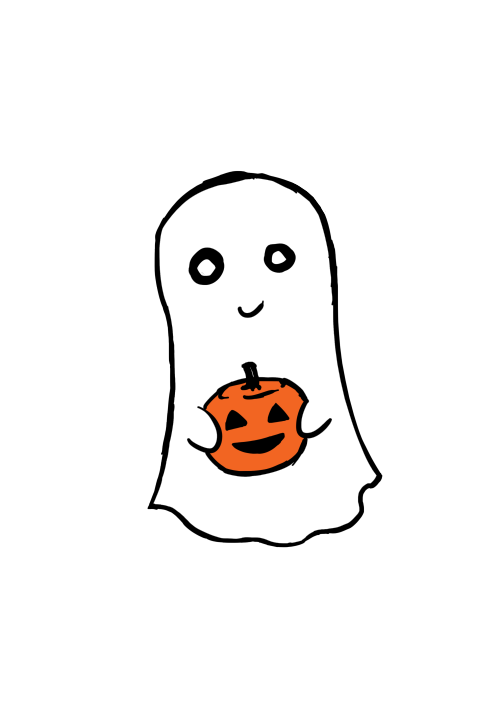 Sweet And Simple Ghost And Pumpkin Illustration Artist Unknown