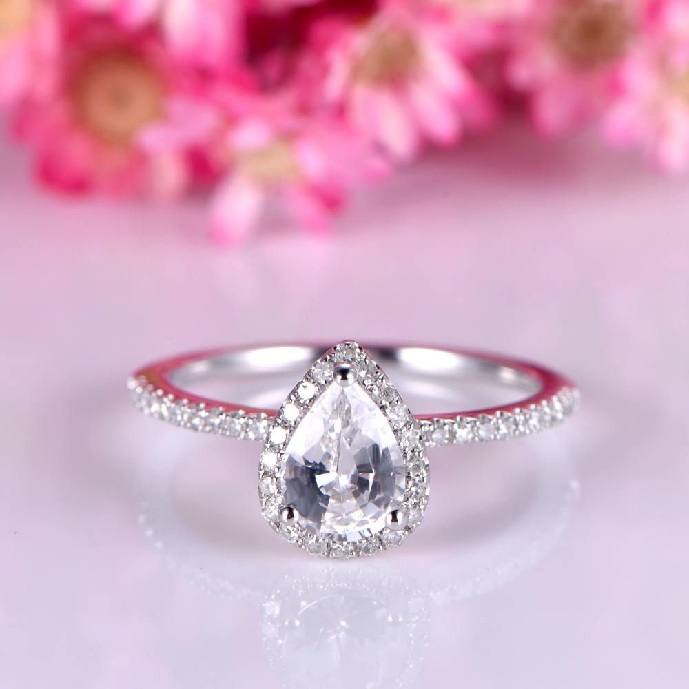 White sapphire engagement ring 5x7mm pear cut sapphire ring 0.7ct ...