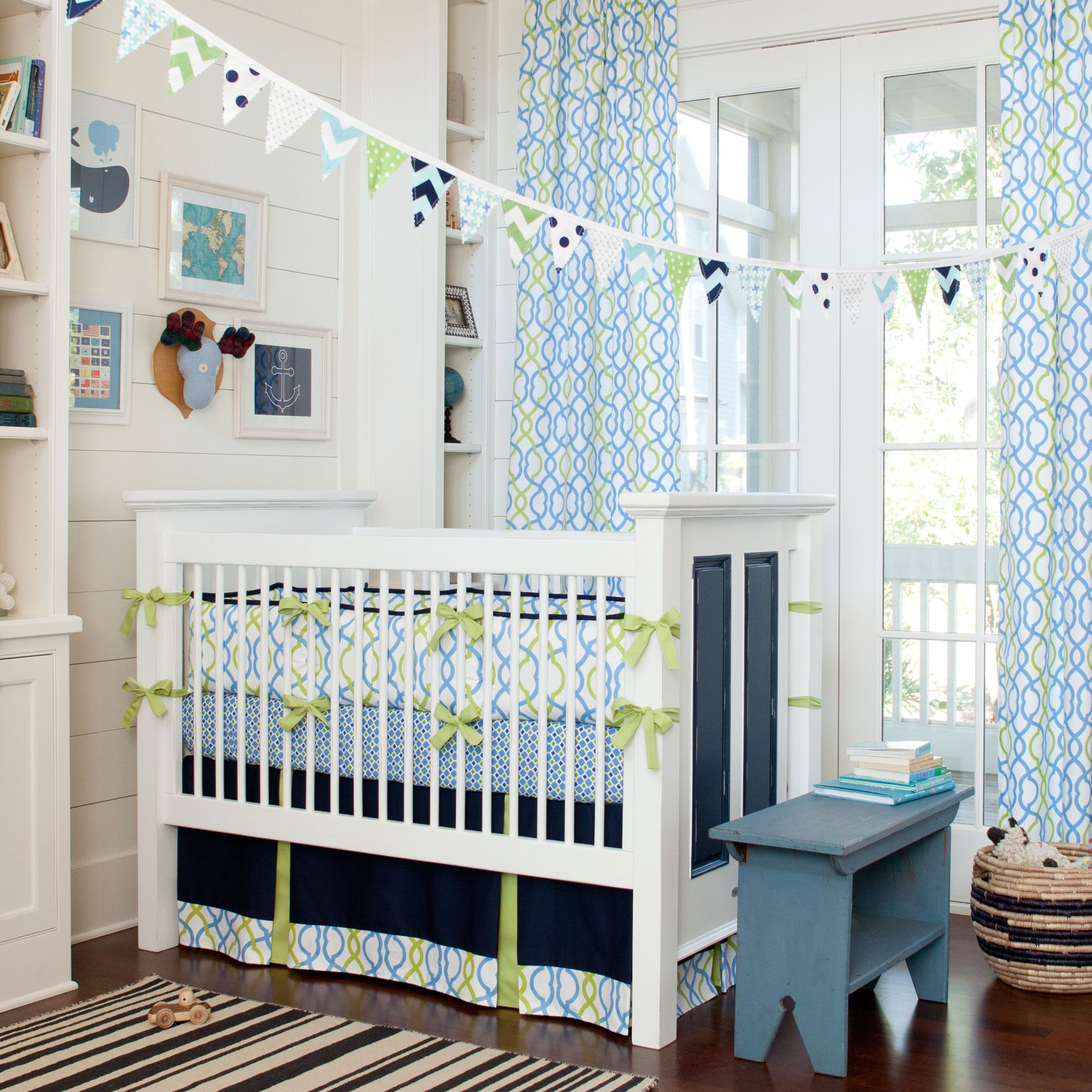 Hy Bright Blue And Green Colors For Baby Boy S Nursery Navy Waves Crib Bedding Carouseldesigns