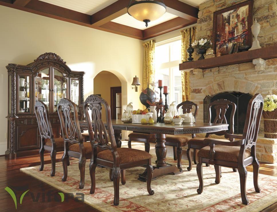 Klasikinis Ashley Valgomojo Komplektas North Shore D553 Klasikiniai Amerikietiski Baldai Ashley Furniture Dining Dining Room Table Set Dining Room Sets