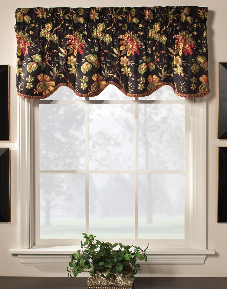 Felicite Scalloped Valance By Waverly Multi Color Jacobean Pattern Of Creme Or Black Background