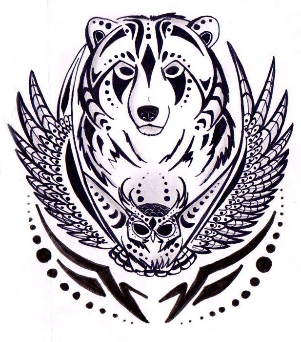 cb115a5f1 bear and owl - Google Search | Tattoos i like | Bear tattoos, Tribal ...