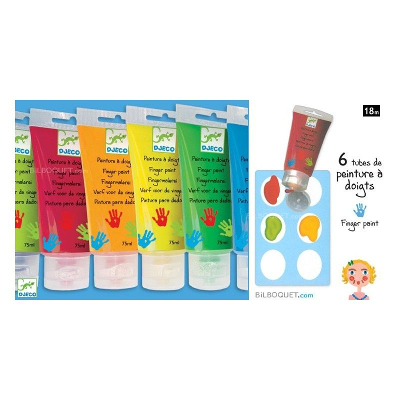 6 Tubes De Peinture A Doigts Crayons Et Peinture Design By