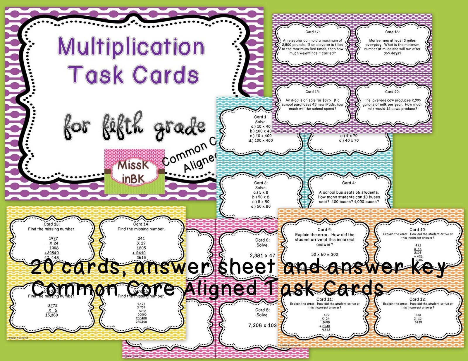 Free Multiplication Task Cards For 5th Grade Problem