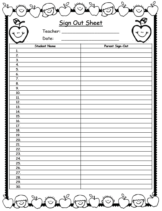 sign out sheet clipart