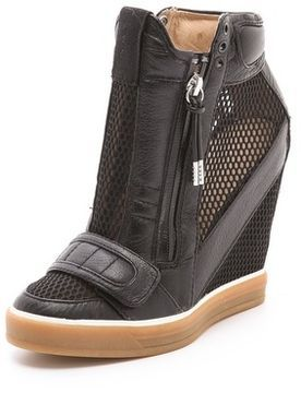 ShopStyle: L.A.M.B. Pamela Mesh Wedge Sneakers $245 | Shoes | Wedge sneakers, Black wedge ...