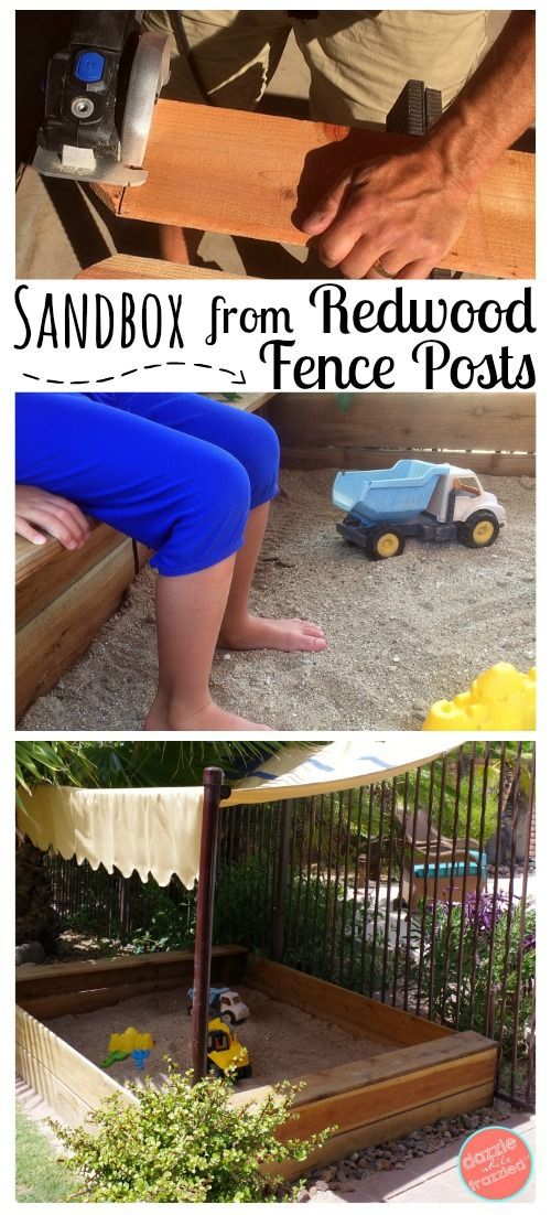 #AD How To Build A Kids Wooden Sandbox Using Redwood Fence Posts For Outdoor  Summer