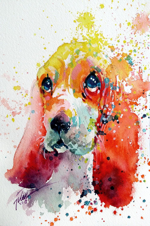 Basset Hound Watercolour With Gouache 13 3 X 20 Cm Original