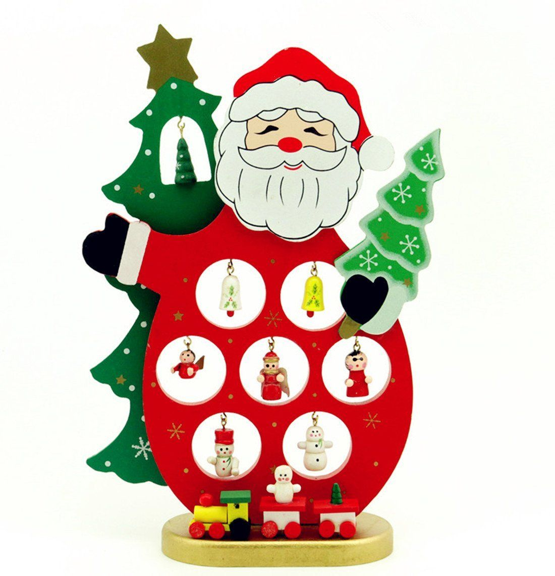 TLT 9.5u0027 Santa Claus Miniature Ornaments Wooden Tabletop Christmas Tree  With 11 Mini Christmas Ornaments