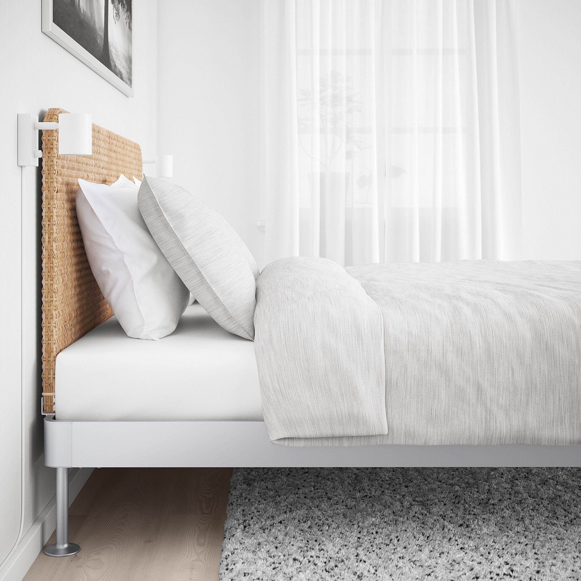 Nordli Bed With Headboard And Storage White Queen 160x200 Cm