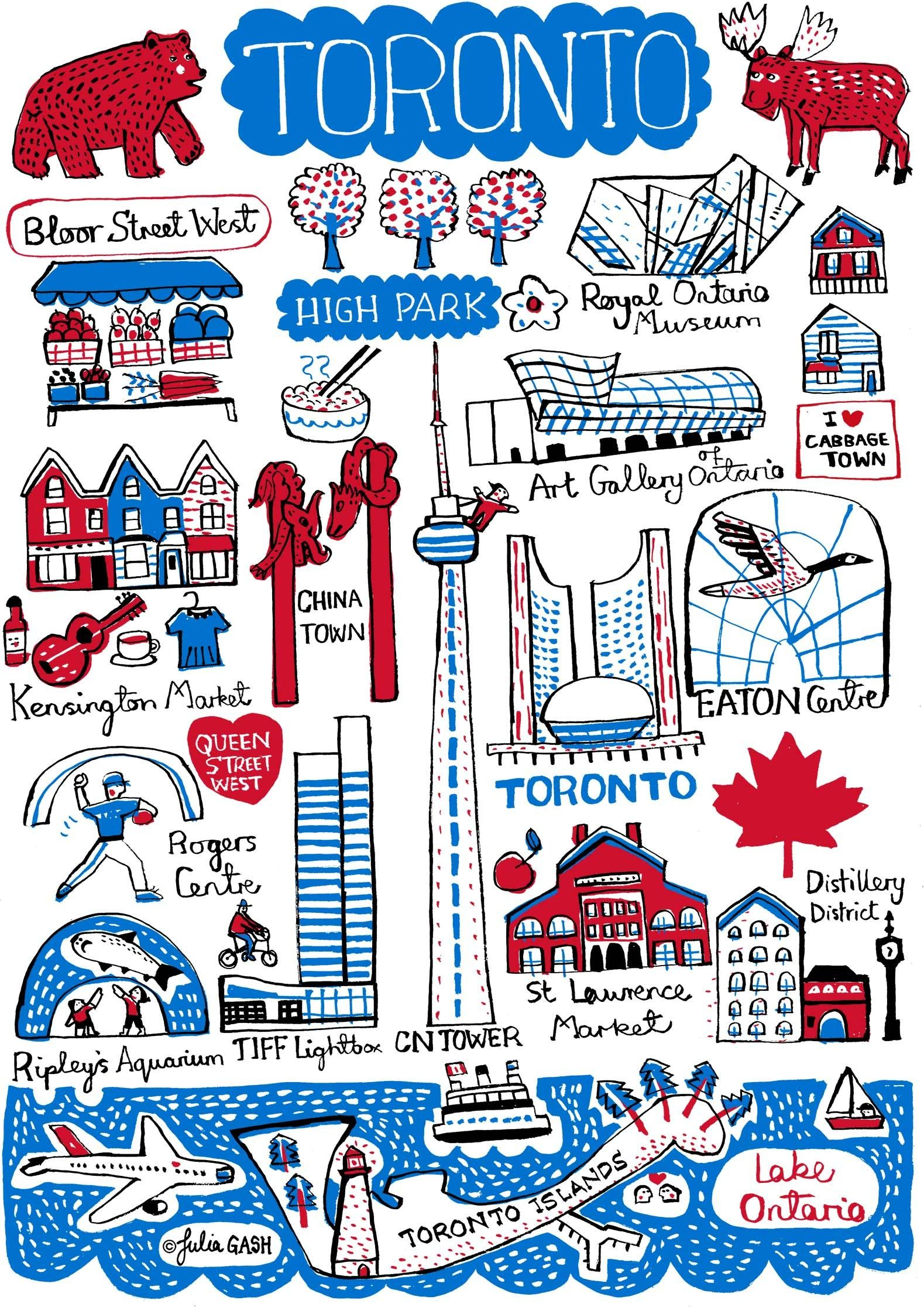 Pin by Julia Gash on Toronto Art prints, Illustrated map