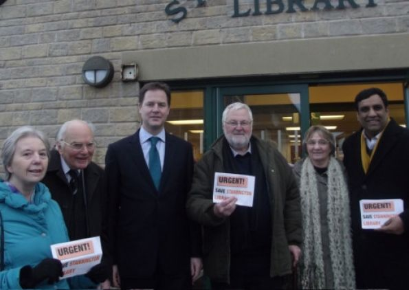 Sheffield  Nick Clegg Along With Protesters And  Name