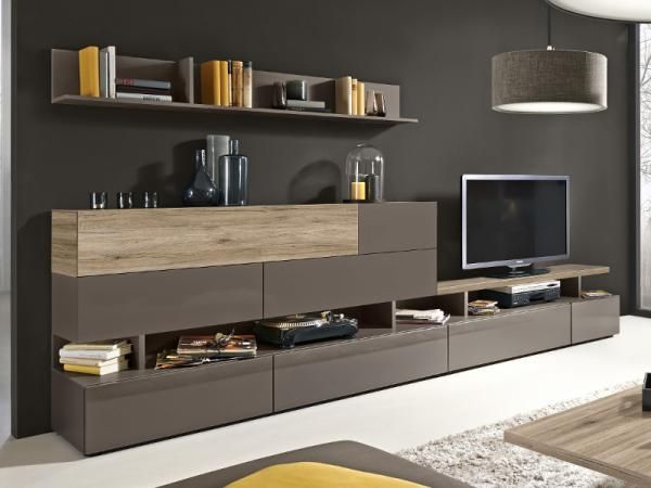 Arte-M Beam TV unit and wall storage system in cubanit grey and sand oak